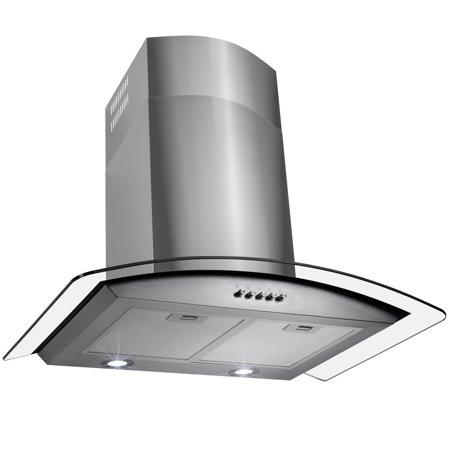 "Image of AKDY 36"" Exhaust Modern Stainless Steel & Clear Glass Wall Mount Range Hood Cooking Fan with Push Buttons"