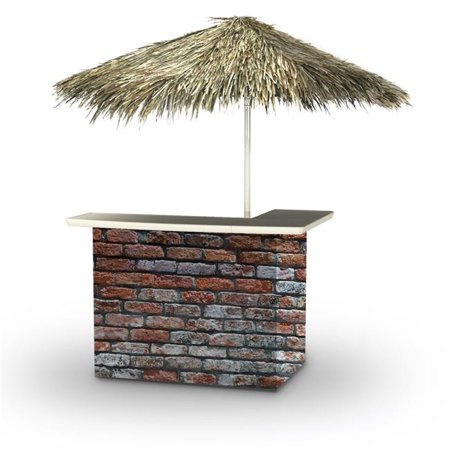 Best of Times 2001W2403P London Brick Palapa Portable Bar & 6 ft. Square Palapa Umbrella,