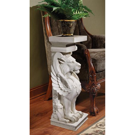 Design Toscano Trapezophoron Sculptural Winged Lion Pedestal