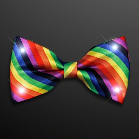 Rainbow Stripes Bow Tie with White LED Lights by, Blinkee Fun! By blinkee](Led Necktie)