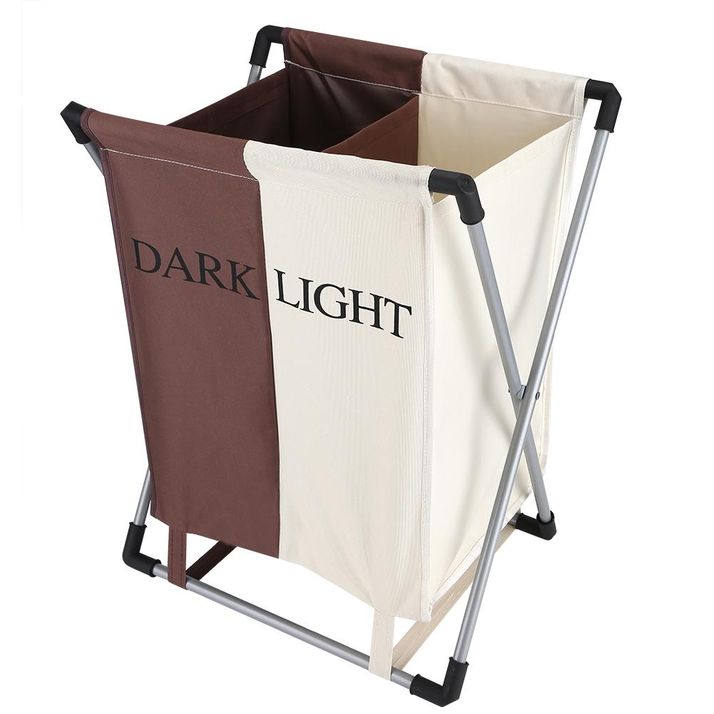 Folding Laundry Washing Basket Bag 2 Section Foldable Fabric Laundry Hamper Sorter for Bedroom Bathroom and Laundry Room