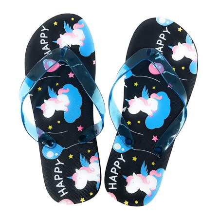 Unicorn Summer time Flip Flops Sandals for Girls (S) Black