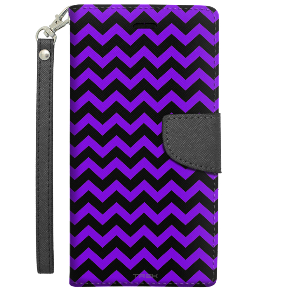 Apple iPhone 6 Plus Wallet Case Chevron Zig Zag Purple Black by Trek Media Group
