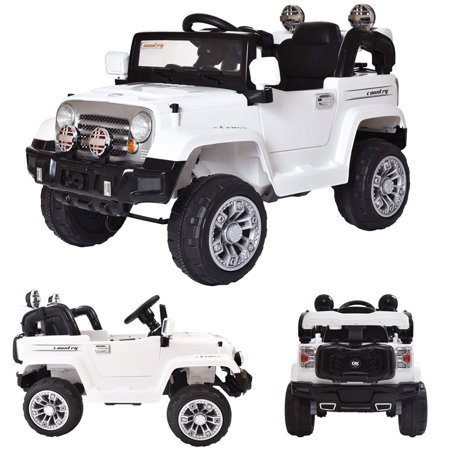 Top Knobs 12V Kids Jeep Battery Powered Ride On Car w/ Parent Control, LED Lights, MP3 Player, 3 Speeds, White, Best Gift for Boy & (Top Gear Best Cars)