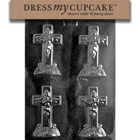 Dress My Cupcake DMCR024 Chocolate Candy Mold, Small Cross with Base