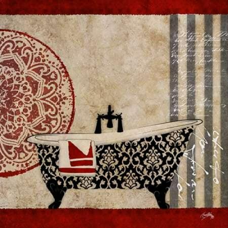 Red Garden Bath II Stretched Canvas - Elizabeth Medley (12 x (Elizabeth Bath Fixture)