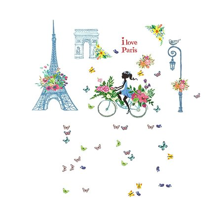 Living Room PVC Eiffel Tower Print Wall Film Protector Sticker Wallpaper - Halloween O Filme Wallpaper