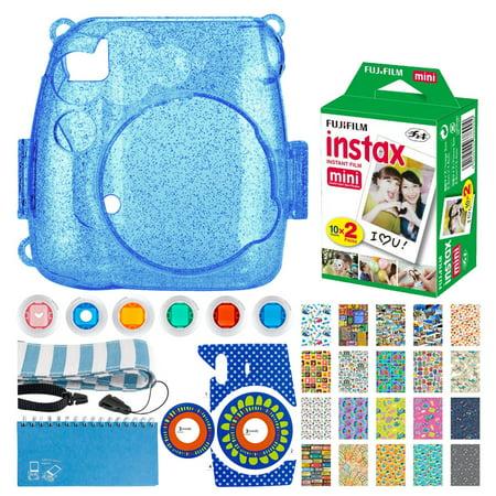 Fujifilm Instax Mini Twin Pack Instant Film (20 Exposures) + Hard Glitter Case (Cobalt Blue) + Scrapbooking Album + Striped Strap + Camera Sticker + Lens Filters + 20 Sticker Frames Travel