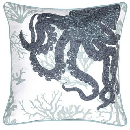 - 14 Karat Home Inc. Octopus Crewel Stitch Cotton Throw Pillow