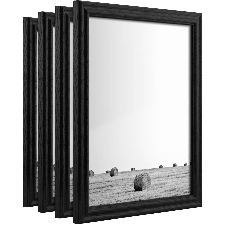 Craig Frames Wiltshire 200, Traditional Black Hardwood PictureFrame, Set of 4