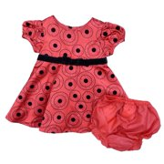 Rare Editions Infant Girls Red Black Polka Dot Satin Party Holiday Dress