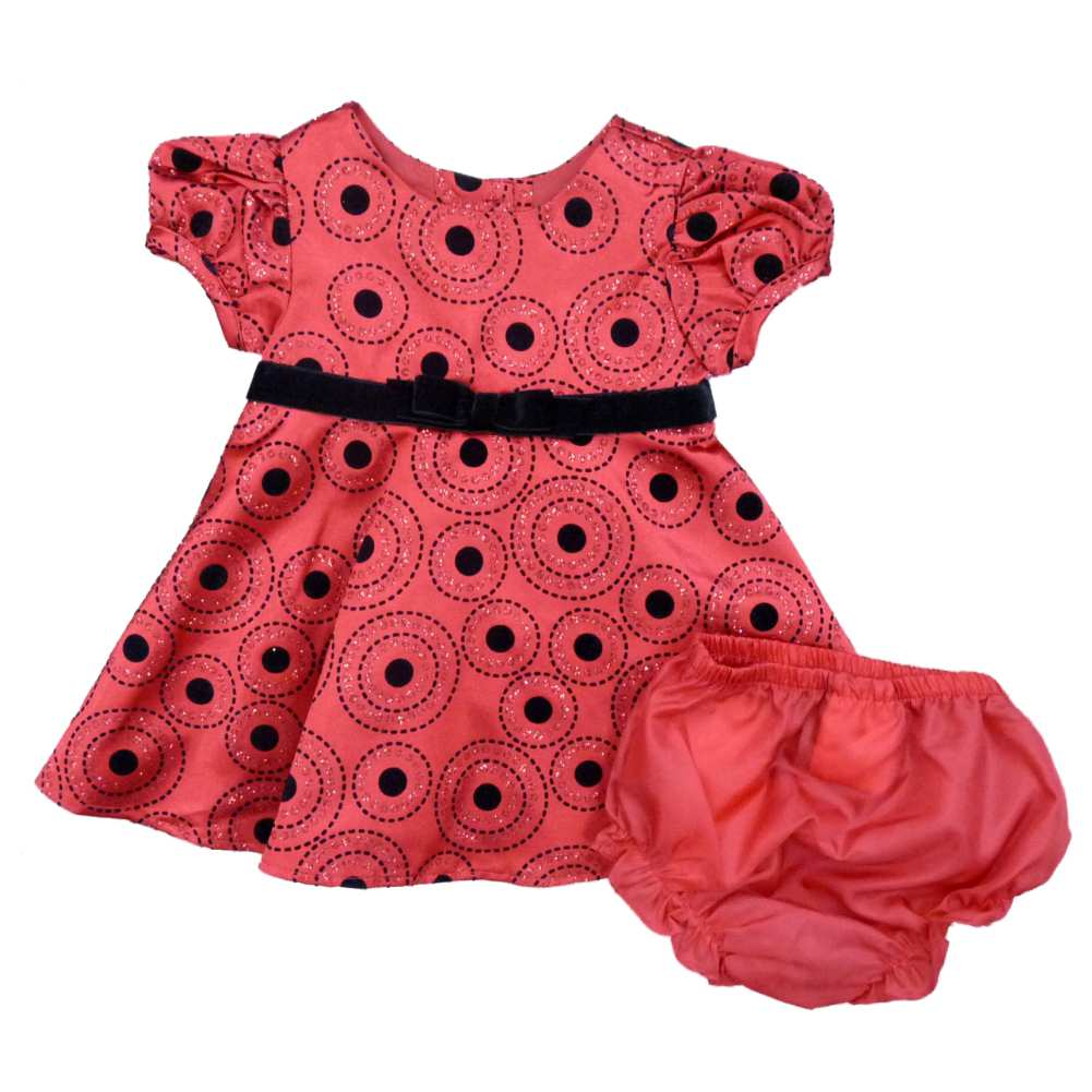 Rare Editions Infant Girls Red Black Polka Dot Satin Part...