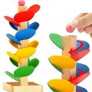 Creative Wood Building Blocks Tree Set, Rainbow Marble Ball Run Track Game Intelligence Educational Wooden Assembled Toy for Kids Children Men Preschool Boys