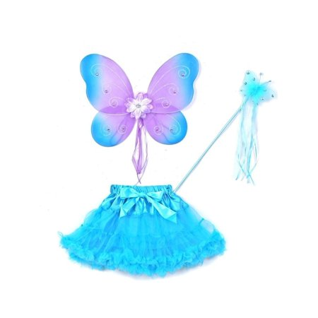 Little Girls Multiple Colors Bow Wings Wand Tutu Halloween 3 Pc Set 2-5T - Couture Costume D'halloween
