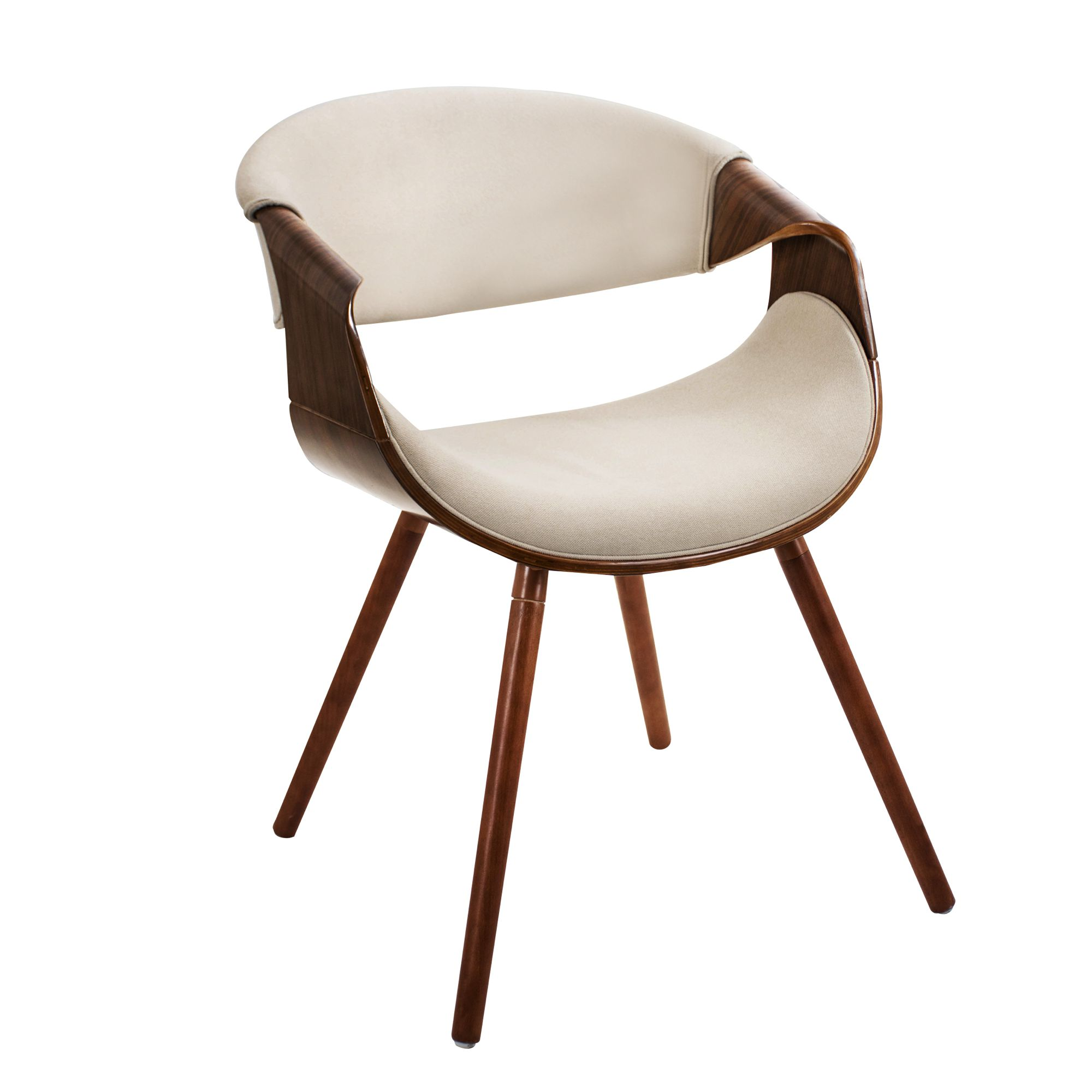 Curvo Mid-Century Modern Dining/Accent Chair in Walnut and Cream Fabric by LumiSource