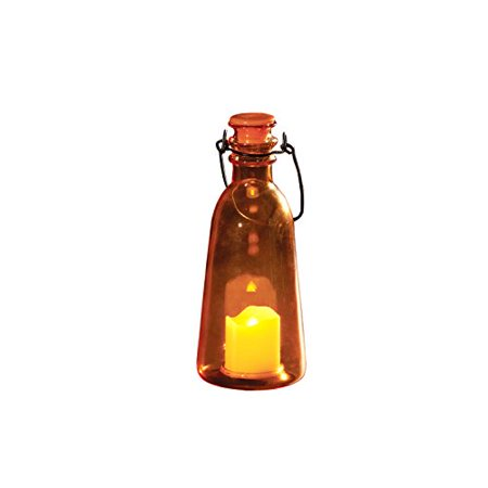 Latigo Handle Light - Roman Lights LED Candle in an Amber Glass Bottle with Cap and Wire Handle with Batteries, 7.5-Inch