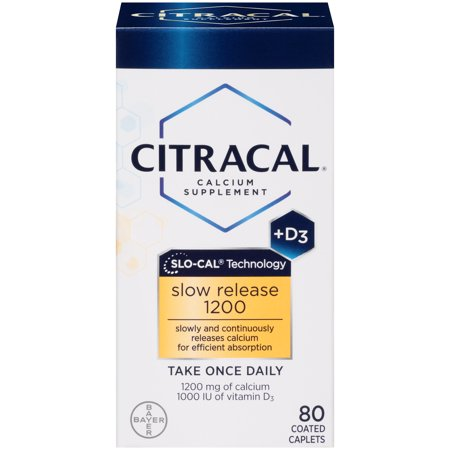 Citracal Slow Release 1200, Calcium and Vitamin D3 Supplement to Support Bone Health*, 80 Coated Caplets