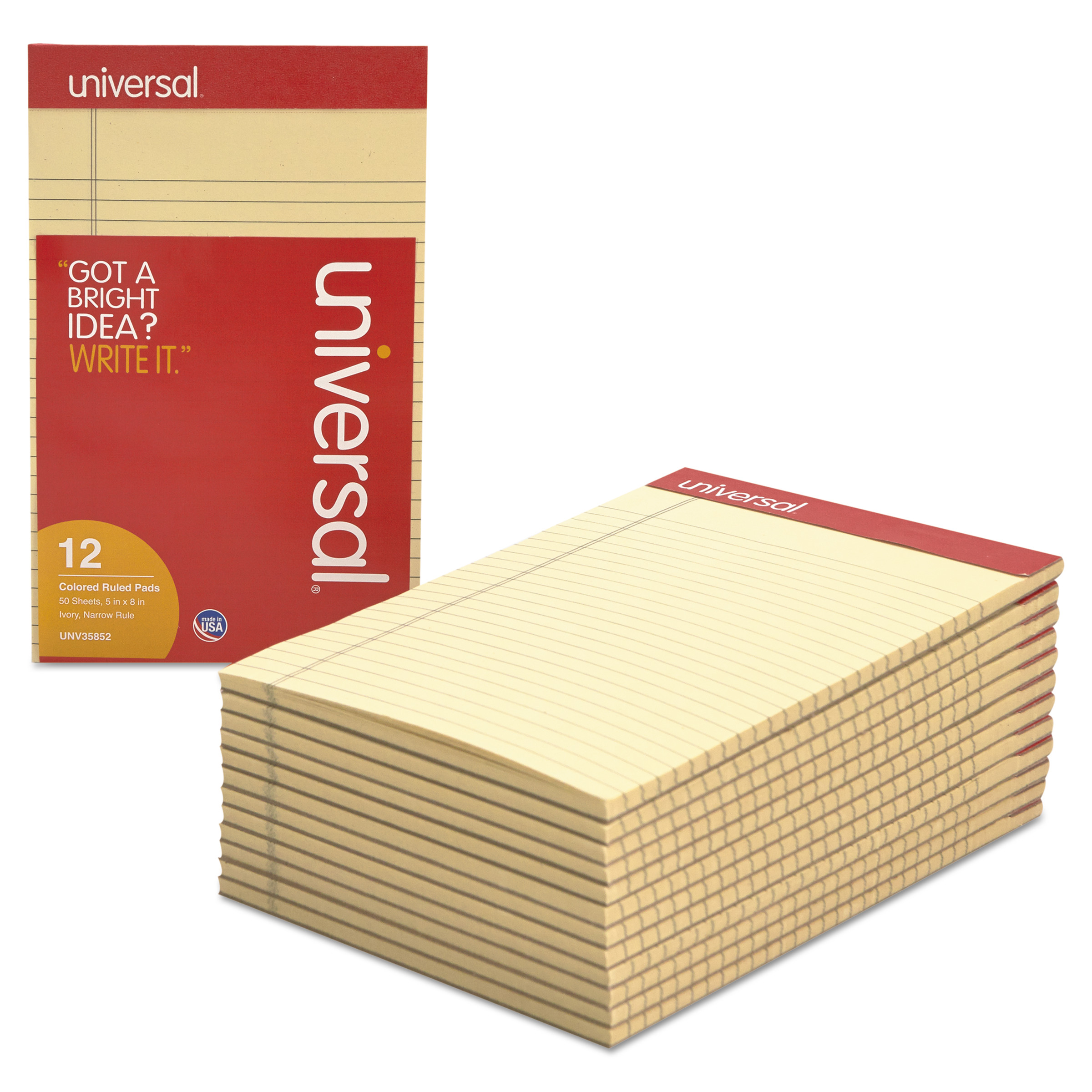 Universal Colored Perforated Note Pads, Narrow Rule, 5 x 8, Ivory, 50 Sheet, Dozen