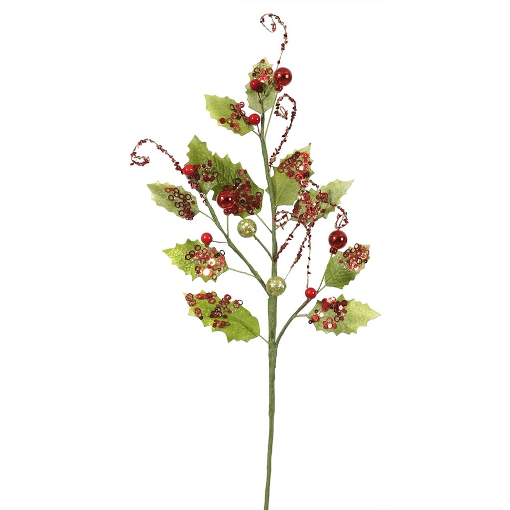 "Vickerman 36323 - 22"" Holly Leaves Red Sequin Spray (L140026)"