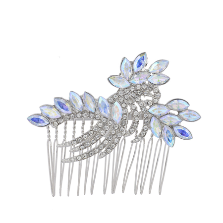 Lux Accessories Silver Tone Iridescent Faux Rhinestone Statement Hair Comb ()