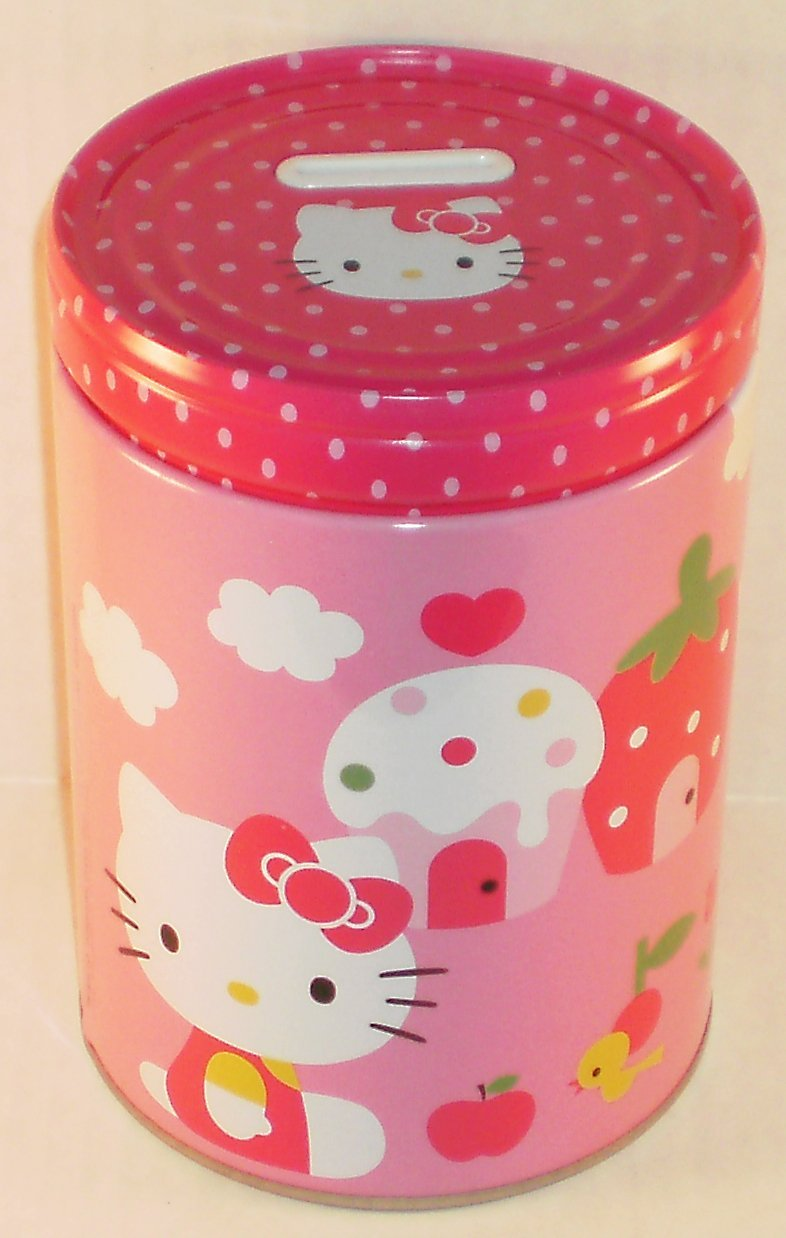 Round Coin Bank Hello Kitty Red Star & Bows Tin Box New Toys 695217-3 by The Tin Box