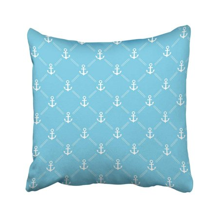 RYLABLUE White Sea Blue Anchor Pattern Boat Chain Ship Abstract Color Continuous Creative Pillowcase Cover 18x18 inch - image 1 de 1