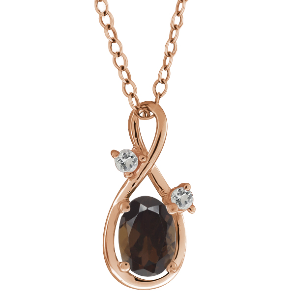 0.83 Ct Oval Brown Smoky Quartz and Topaz Gold Plated Silver Pendant