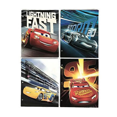Cars 3 Movie - Set of 4 Two Pocket Folders for School, Folders feature characters from Cars 3. Displays outstanding artwork on front and back.., By Disney Pixar Ship from US