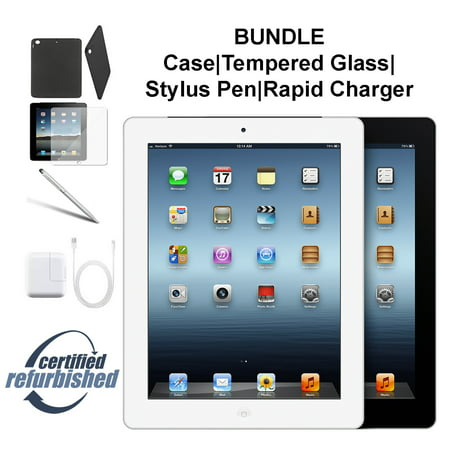 Apple iPad 4 16GB Black - WiFi - Bundle - Case, Rapid Charger, Tempered Glass & Stylus Pen ---- FREE 2 Day Shipping (Refurbished