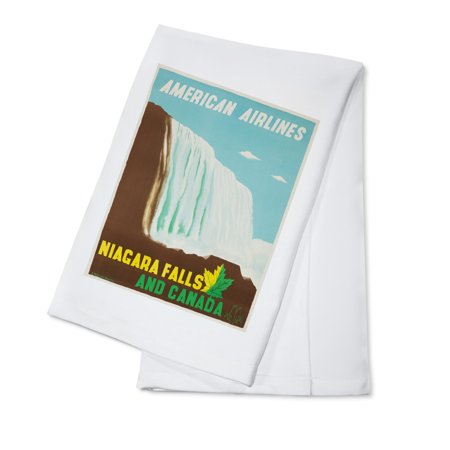 American Airlines - Niagara Falls Vintage Poster (artist: Kauffer) USA c. 1948 (100% Cotton Kitchen Towel)
