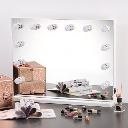 Yescom 12 LED Lights Hollywood Vanity Mirror for Makeup Artist Salon Dressing Bathroom Wall Mount Large 33