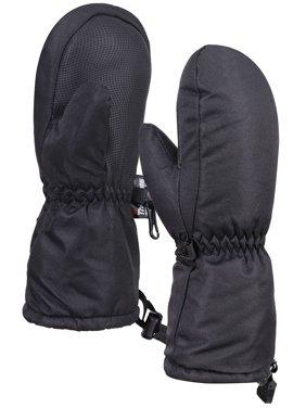 ANDORRA Kids Premium Weather-proof Thinsulate Snow Mittens,Solids,S,Black