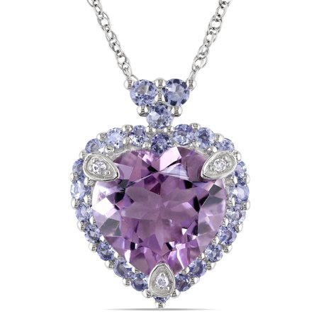 - 10k White Gold Amethyst, Tanzanite and Diamond-accented Necklace