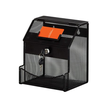 4238BL Onyx Mesh Collection Box, Black, Onyx steel mesh collection box also used as a drop box, deposit box, prize drawing box and more By Safco Products