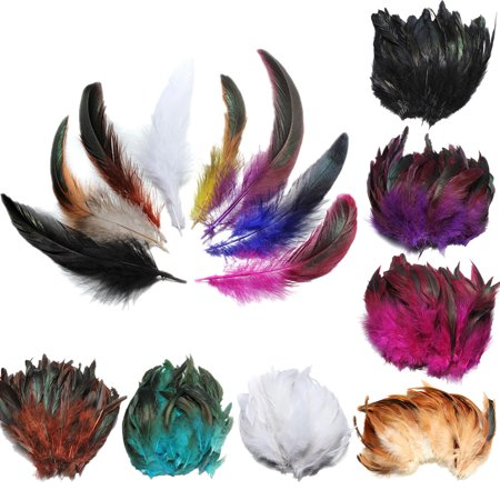 100Pcs Fluffy Beautiful Color Rooster tail Feathers 6-8