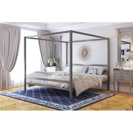 6c14bab003c2 DHP Modern Canopy Bed, Gray, Multiple Sizes - King - Walmart.com