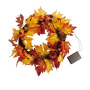 BIGTREE Artificial Fall Wreath for Front Door, with LED Lights Pumpkins, Pinecone, Maple Leaf Indoor or Outdoor Decoration