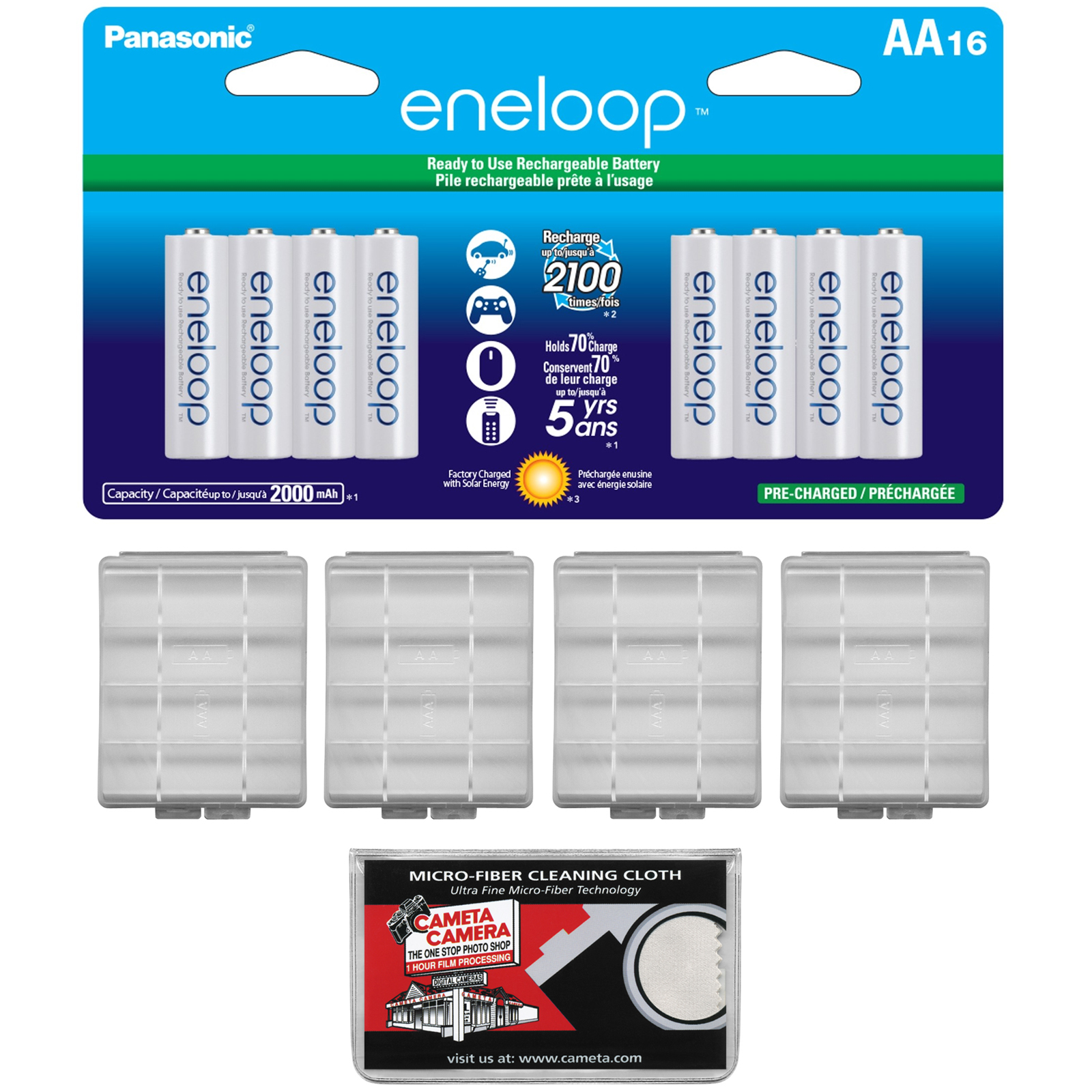Panasonic eneloop (16) AA 2000mAh Pre-Charged NiMH Rechargeable Batteries with (4) AA Battery Cases + Microfiber Cleaning Cloth