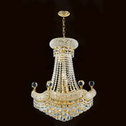 "Empire Collection 12 Light Chrome Finish Crystal Chandelier 20"" D x 26"" H"