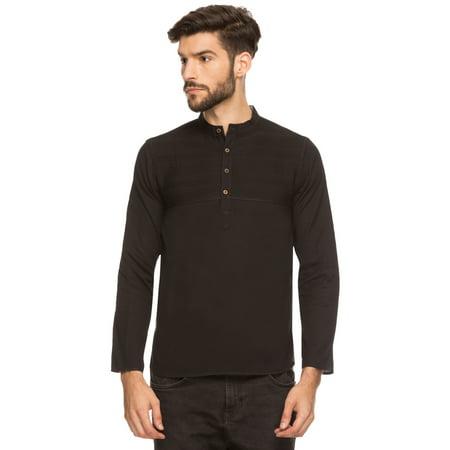 Shatranj Men's Indian Band Collar Henley Shirt Short Tunic Kurta With Pin-tucks ()