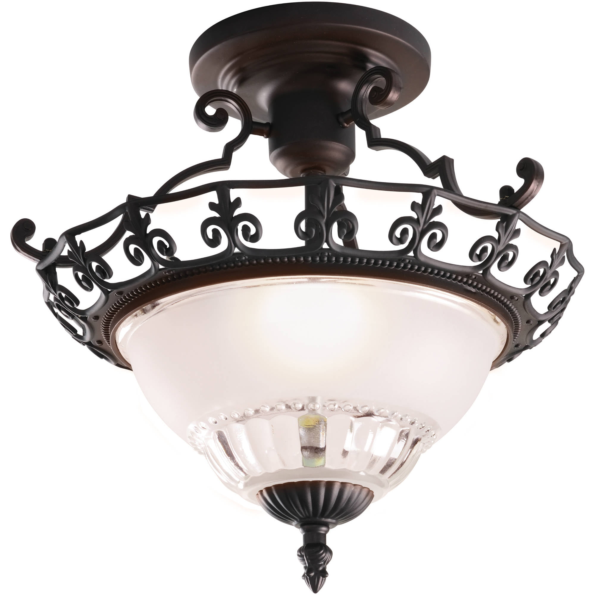 "Bathroom Lighting Fixtures Walmart chapter indoor 11.25"" ceiling semi-flush mount, oil-rubbed bronze"
