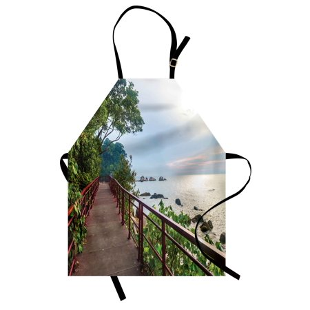 Beach Apron Walkway and Jogging Track by Sea in Cinque Terre Italian Mediterranean Vacation, Unisex Kitchen Bib Apron with Adjustable Neck for Cooking Baking Gardening, Green Chocolate, by Ambesonne