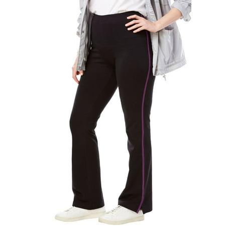 ea5c8e0730b Woman Within - Plus Size Tall Stretch Cotton Side-striped Bootcut Yoga Pant  - Walmart.com