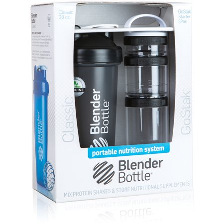 BlenderBottle Combo Pack 28-Ounce Bottle and 3-Piece GoStak Container 28 Ounce Blender Bottle
