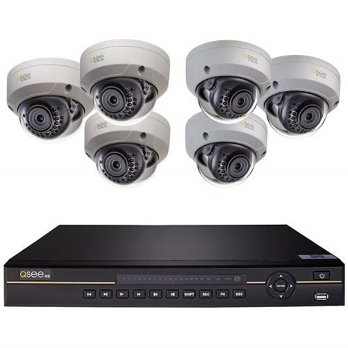 Q-SEE 8CH 4K IP NVR WITH 6 4K DOME CAMERAS & 2TB HDD. H.265