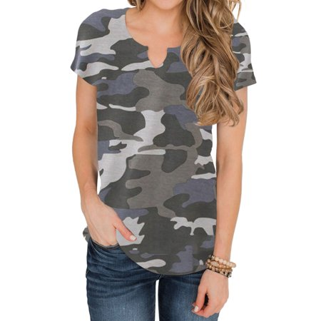 STARVNC Women V Neck Short Sleeve Leopard Print Shirt Casual Tops