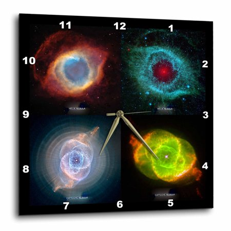 684042093088f 3dRose Galaxy and Nebula - Nebulae Helix And Cats Eye Collage, Wall Clock,  15 by 15-inch