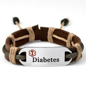 (StickyJ Leather and Hemp Earth Tone Diabetes Medical Id Bracelet)