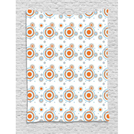 Geometric Tapestry, Bullseye Pattern with Circles and Dots Bicolor Modern Abstract Design, Wall Hanging for Bedroom Living Room Dorm Decor, 40W X 60L Inches, Orange Pale Blue White, by Ambesonne