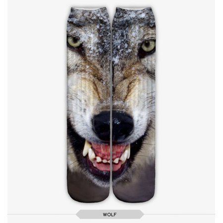 WOLF STOCKING SOCKS ONE SIZE FITS ALL GREY